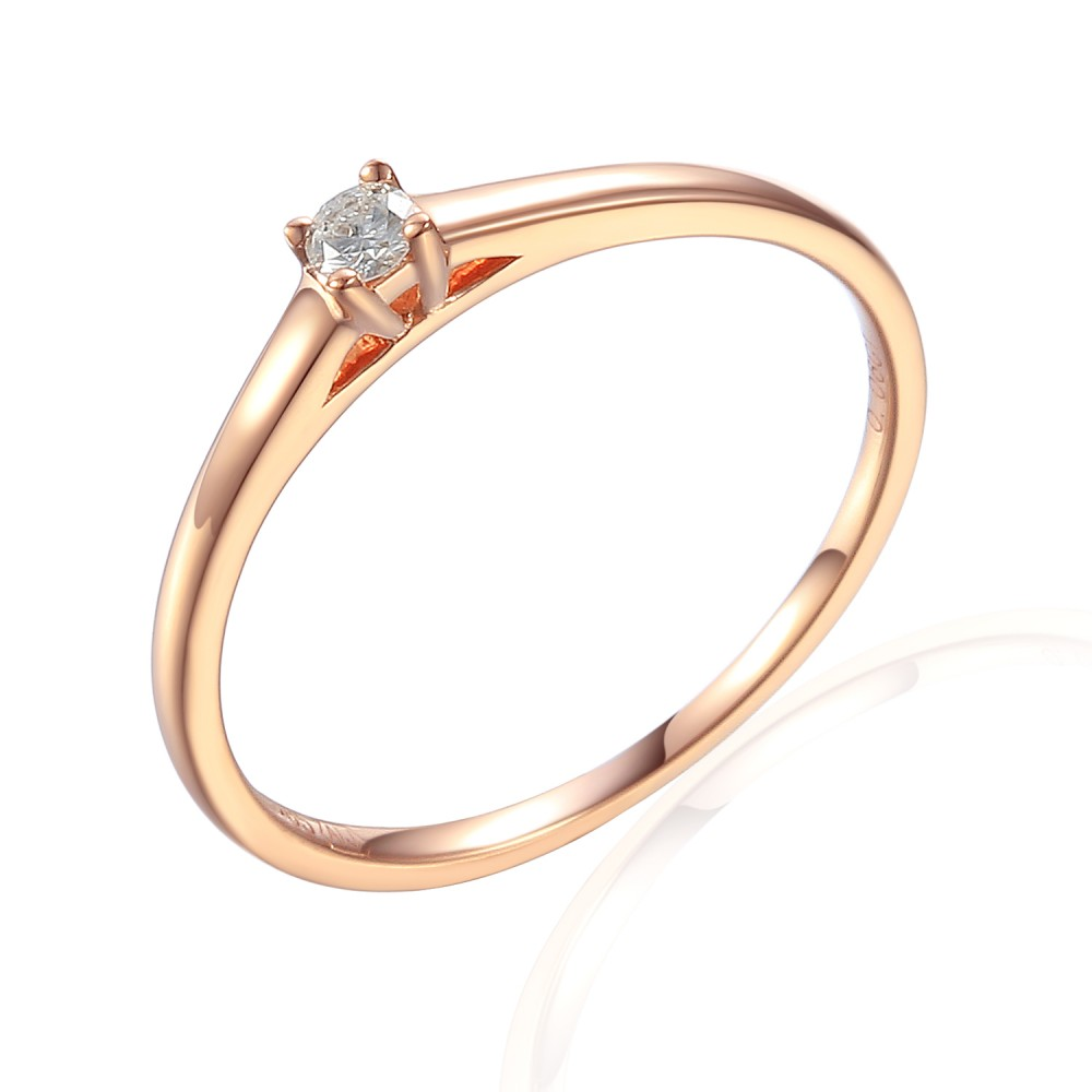 Zlatý prsten s diamantem 585/1000, 0,06 ct - 42404R030