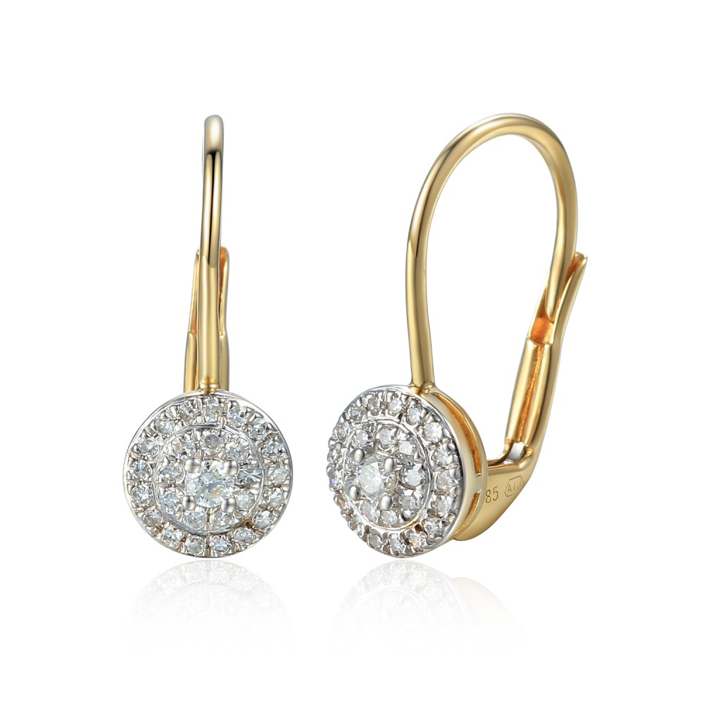 Gold earring with diamond 585/1000, 0,197 ct - 43855E016