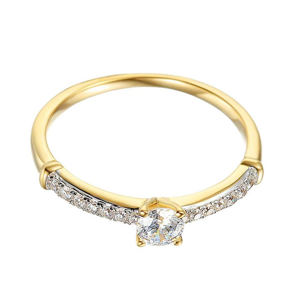 Zlatý prsten se syntetickými zirkony 585/1000,  1.74 g - 44132R013