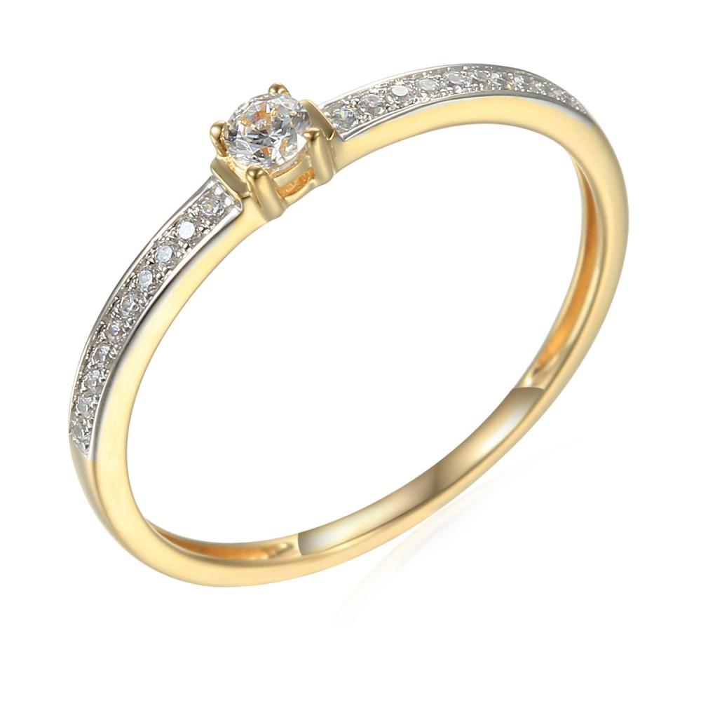 Zlatý prsten se syntetickými zirkony 585/1000,  1,29 g - 44683R007
