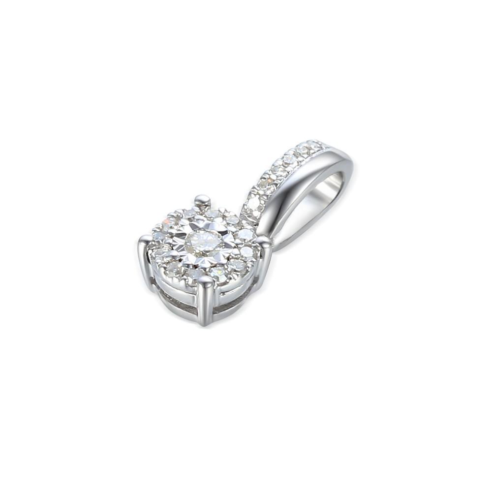 Gold pendant with diamond 585/1000, 0,104 ct - 46876P002