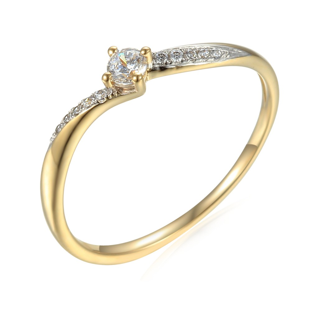 Zlatý prsten se syntetický zirkony 585/1000,  1.44g - 54648R006