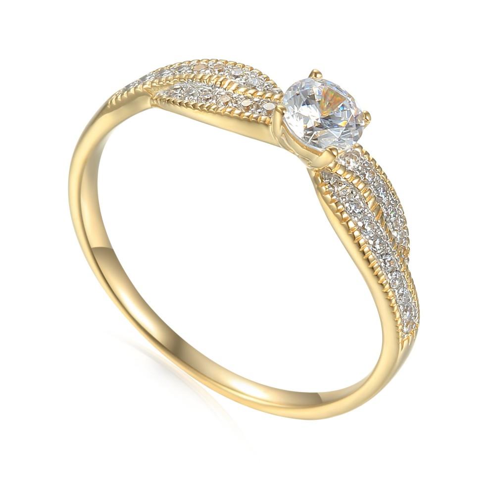 Zlatý prsten se syntetickým zirkonem 585/1000,  2.29g - 53476R006