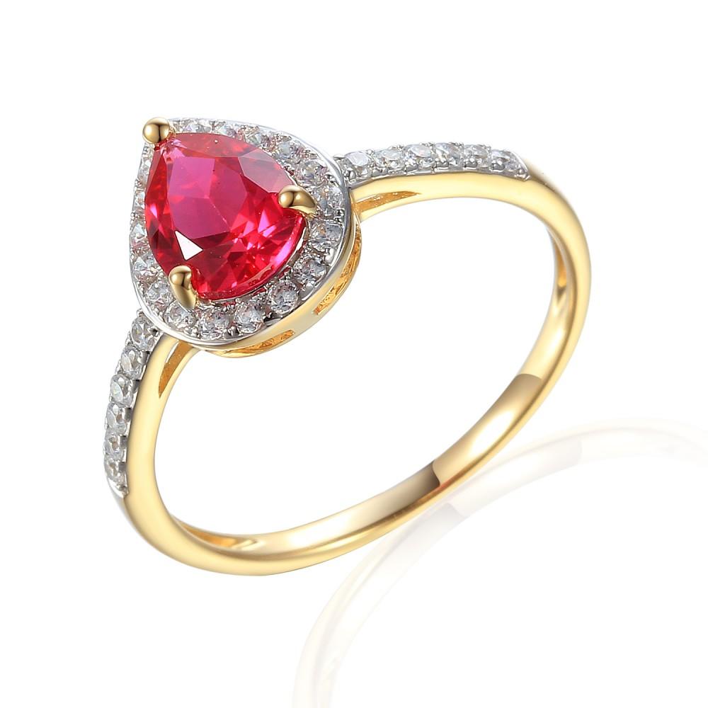 Zlatý prsten se syntetickým rubínem 585/1000,  2,32 gr - 69564R003