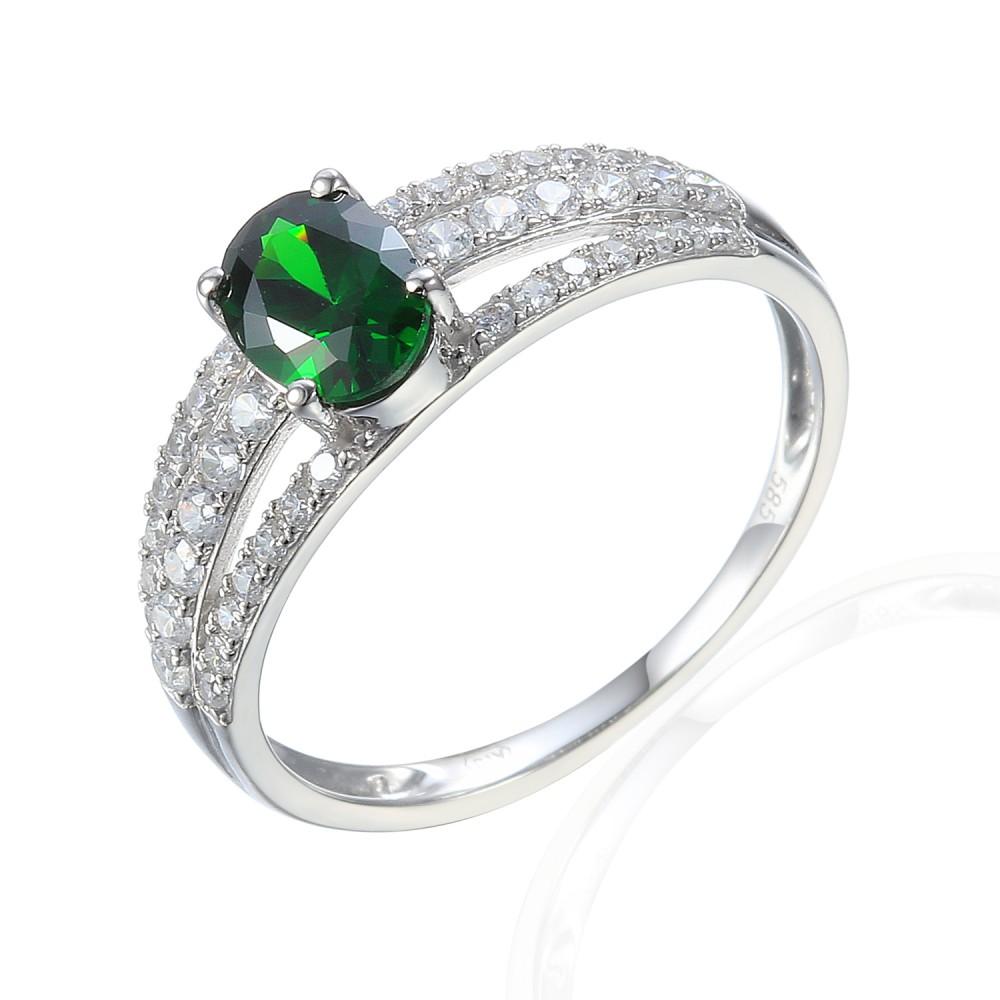 585/1000 Zlatý prsten se syntetickým smaragdem,  2,29 gr - 69584R002