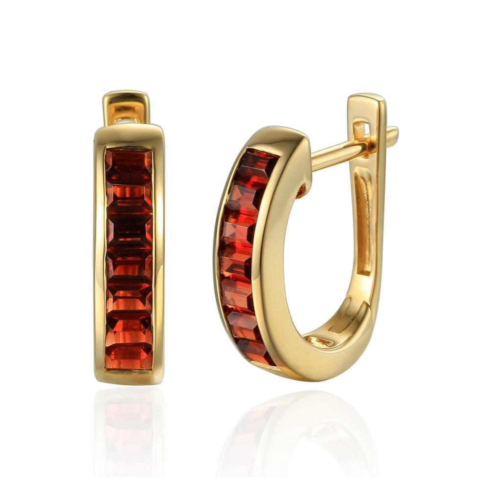 Zlaté náušnice s granátem 585/1000,  3,39 g - 69625E001