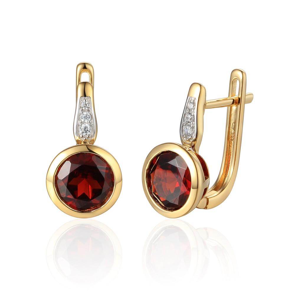 585/1000 Gold earrings with garnet, 3,57 gr - 73805E002