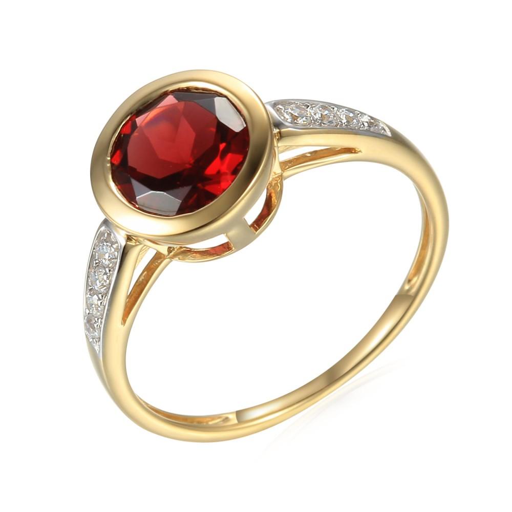 Zlatý prsten s granátem 585/1000,  2,41 gr - 73805R001