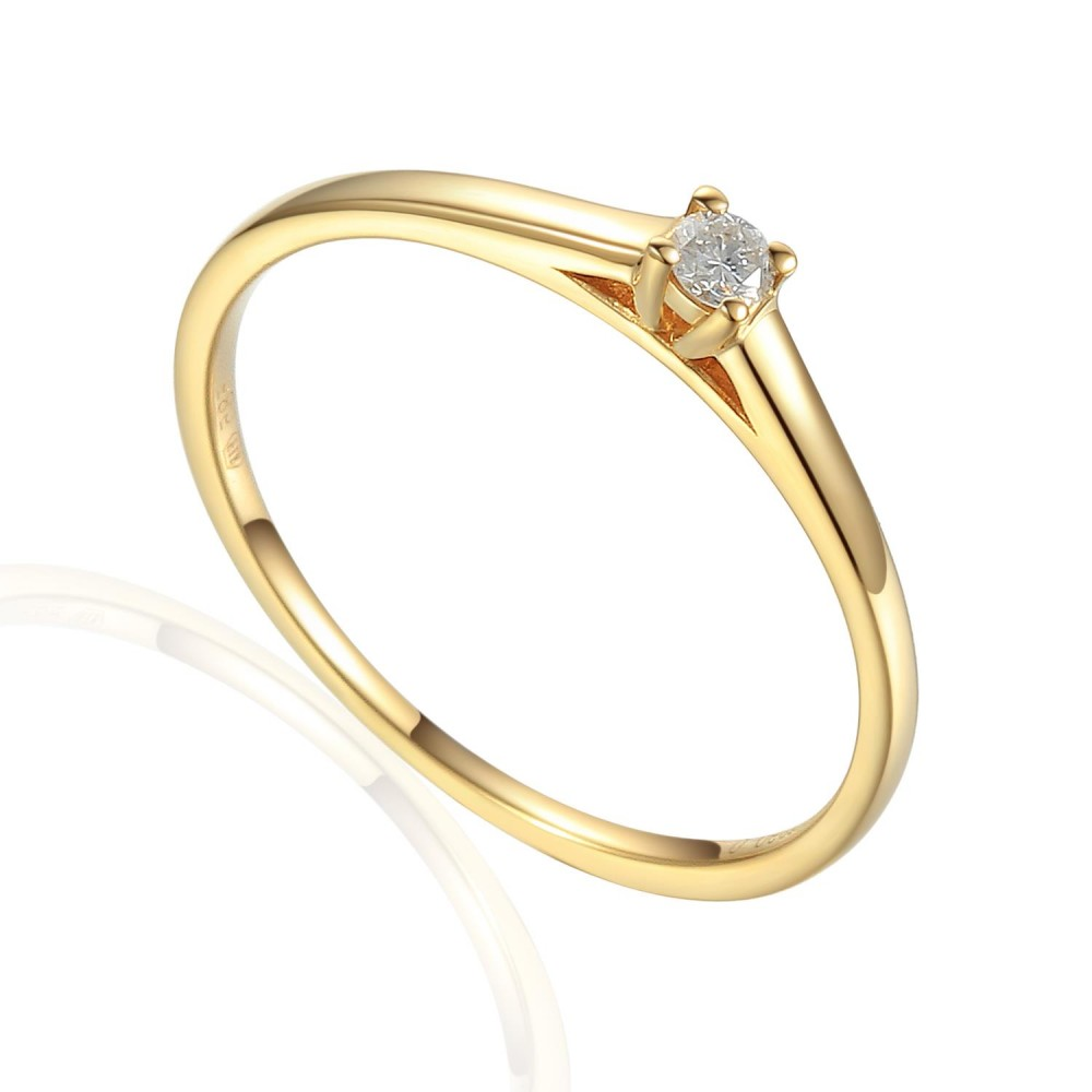 Zlatý prsten s diamantem 585/1000, 0,06 ct - 42404R023