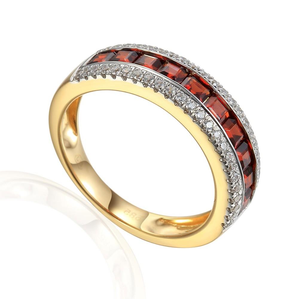 Zlatý prsten s granátem 585/1000,  3,77 gr - 46031R156