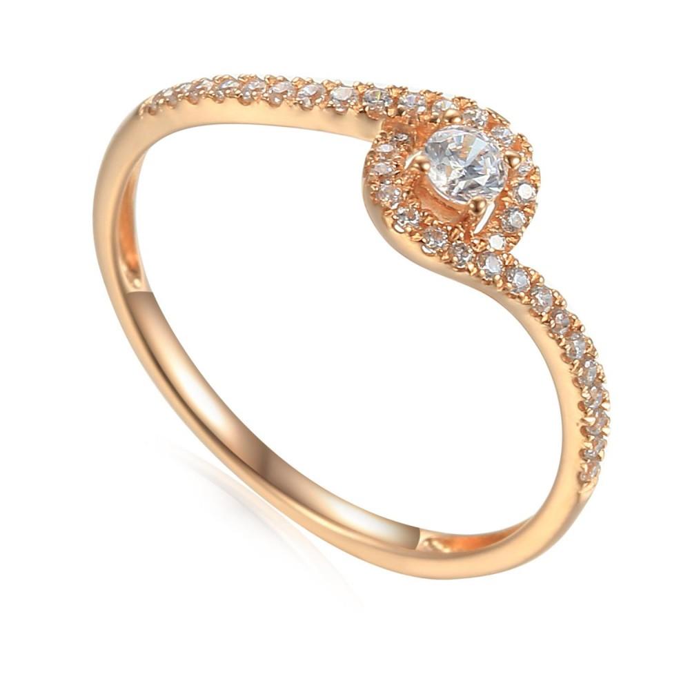 Zlatý prsten se syntetický zirkony 585/1000,  1,08 g -  46942R034