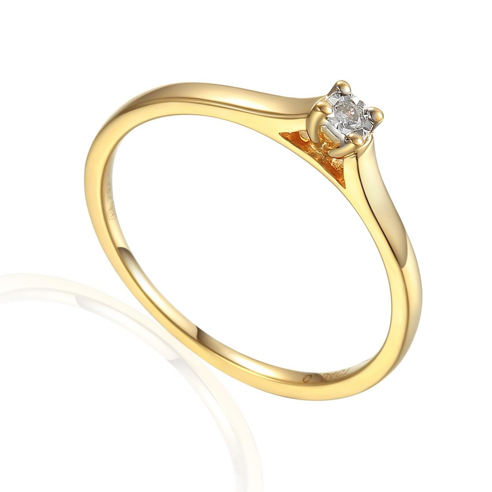 Zlatý prsten s diamantem 585/1000, 0,04 ct - 55118R013