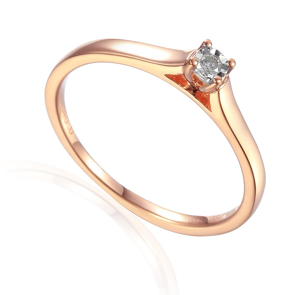 Zlatý prsten s diamantem 585/1000, 0,04 ct - 55118R032