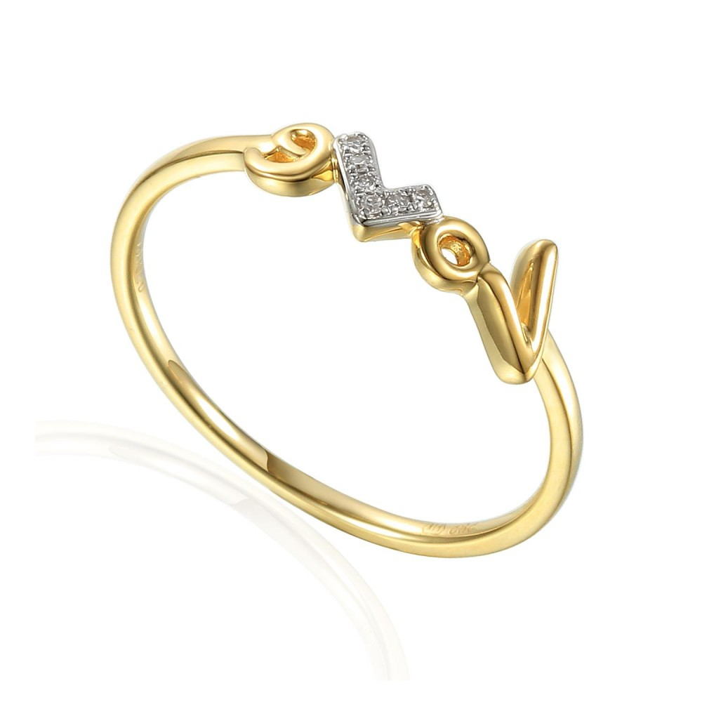 Gold ring with diamond 585/1000, 0,014 ct - 45331R030