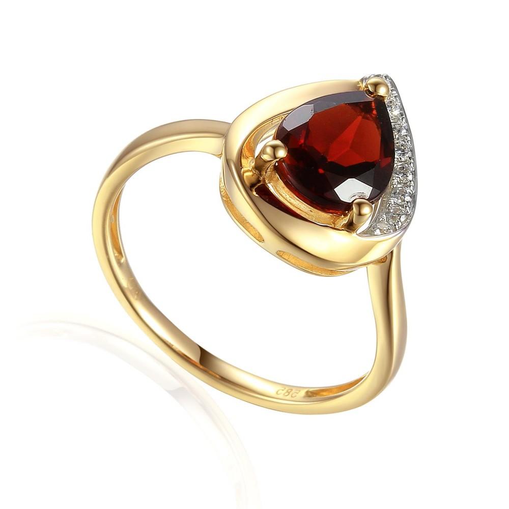 Zlatý prsten s granátem 585/1000,  3,15 gr - 69218R003