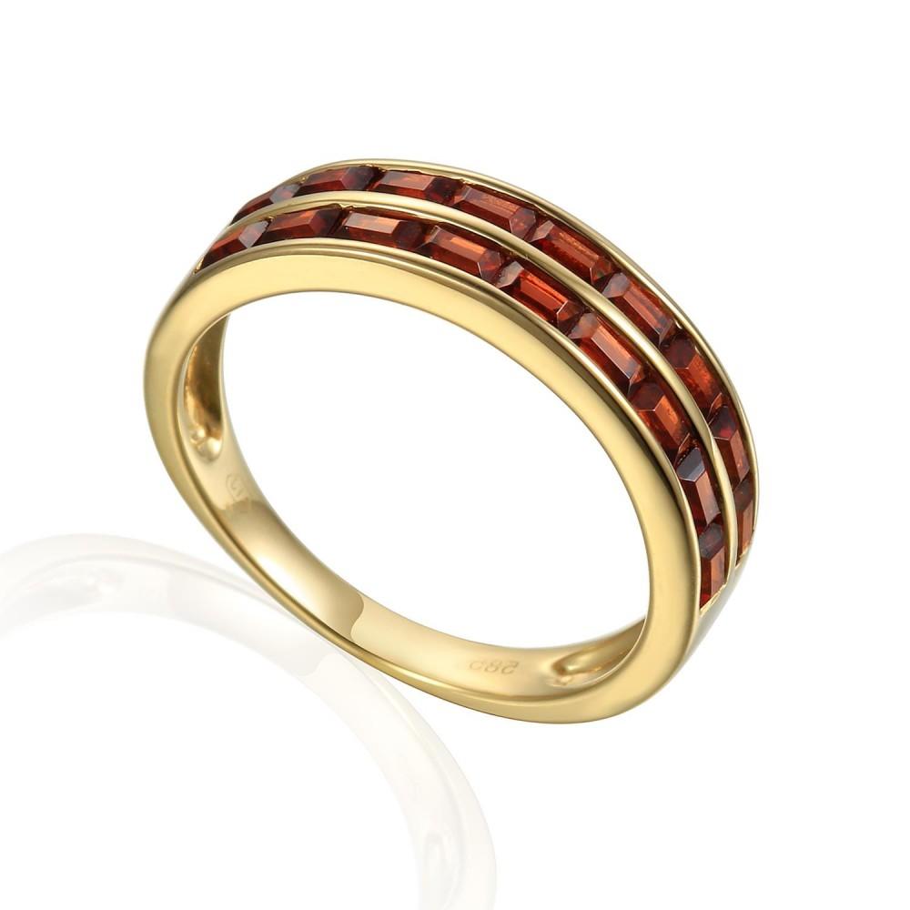Zlatý prsten s granátem 585/1000,  3,86 gr - 69627R001
