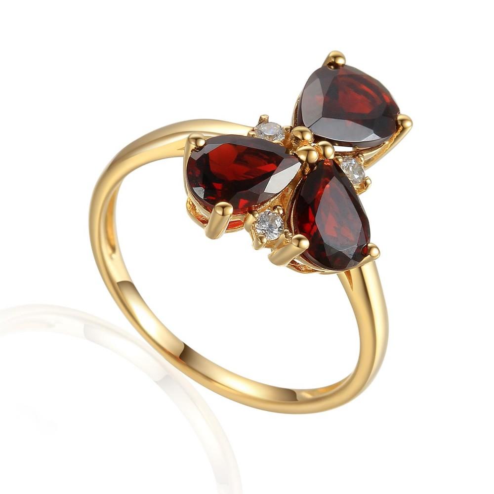 Zlatý prsten s granátem 585/1000,  3,59 gr - 73807R002