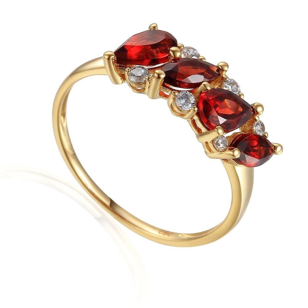 Zlatý prsten s granátem 585/1000,  2,10 gr - 73811R002